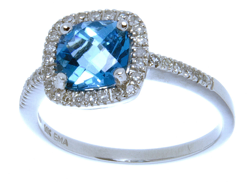 2.00ct Blue Topaz & Diamond Ring - Chicago Pawners & Jewelers