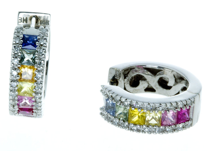 Rainbow Sapphire & Diamond Hoop Earrings - Chicago Pawners & Jewelers