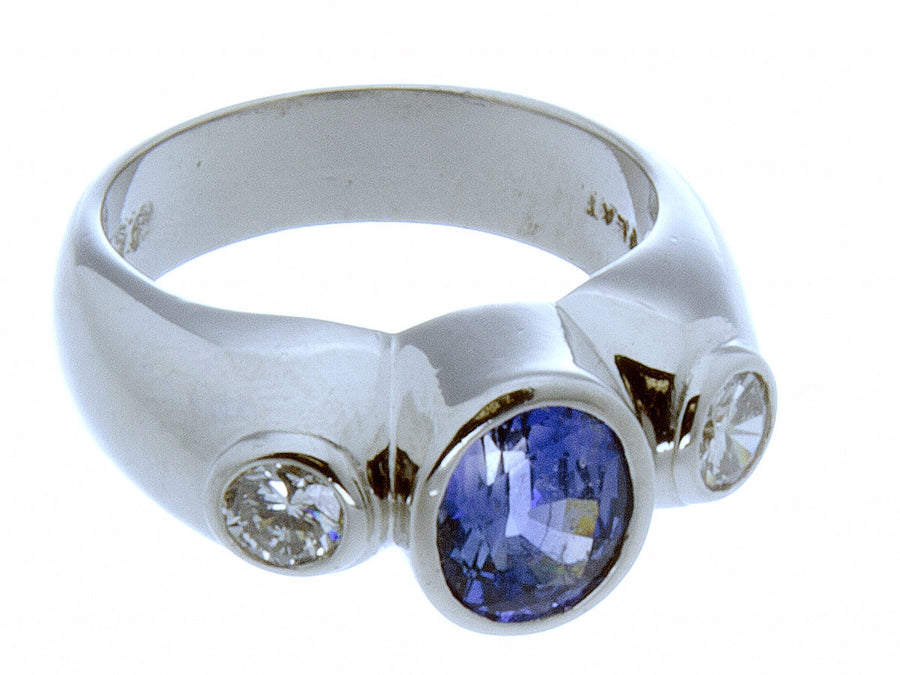 Platinum Tanzanite & Diamond Ring