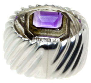 David Yurman 14K & Silver Amethyst Ring - Chicago Pawners & Jewelers