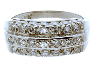 1950s 3 Row Diamond Wedding Band - Chicago Pawners & Jewelers