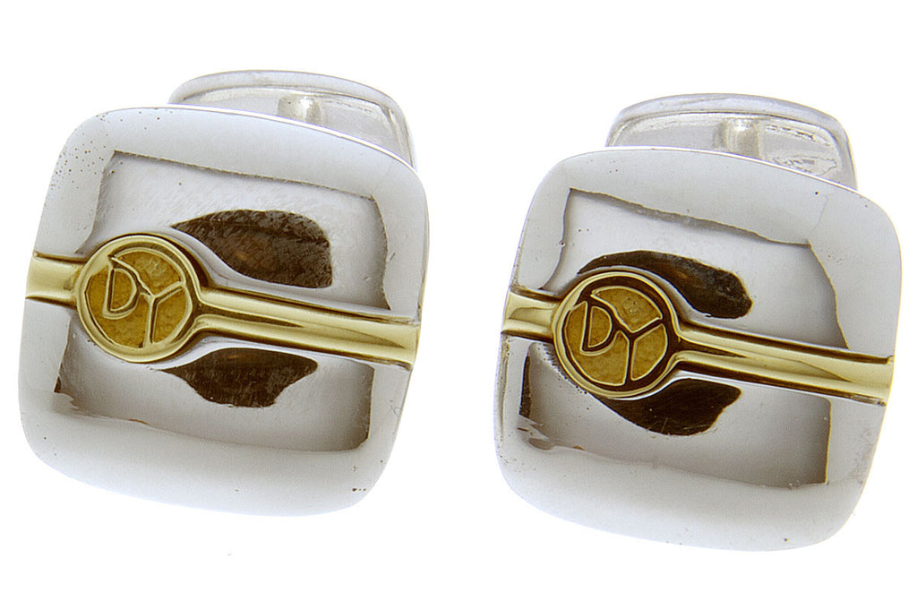 David Yurman 18kt Gold & Silver Logo Cufflinks - Chicago Pawners & Jewelers
