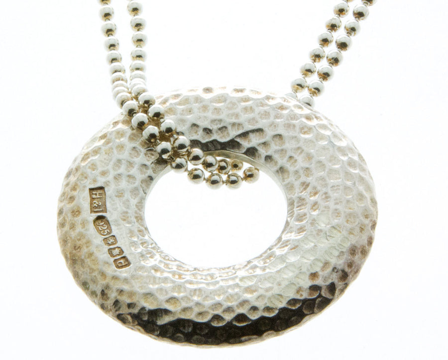 Hamilton & Inches Silver Hammered Donut Pendant - Chicago Pawners & Jewelers