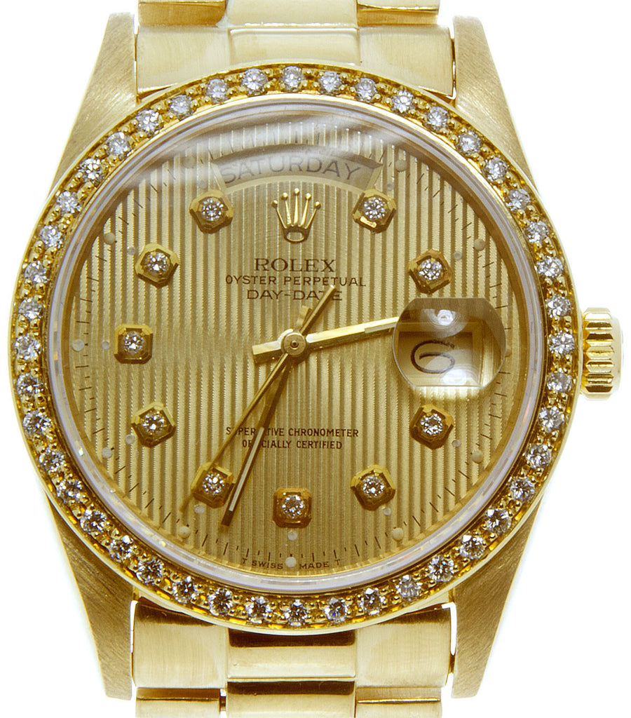 Rolex Day-Date President with Diamond Dial Bezel