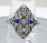 Art Deco 18K Diamond & Sapphire Ring - Chicago Pawners & Jewelers