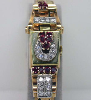 Retro Pink & Green Gold Diamond & Ruby Watch - Chicago Pawners & Jewelers