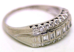 Vintage Round & Baguette Diamond Band Ring