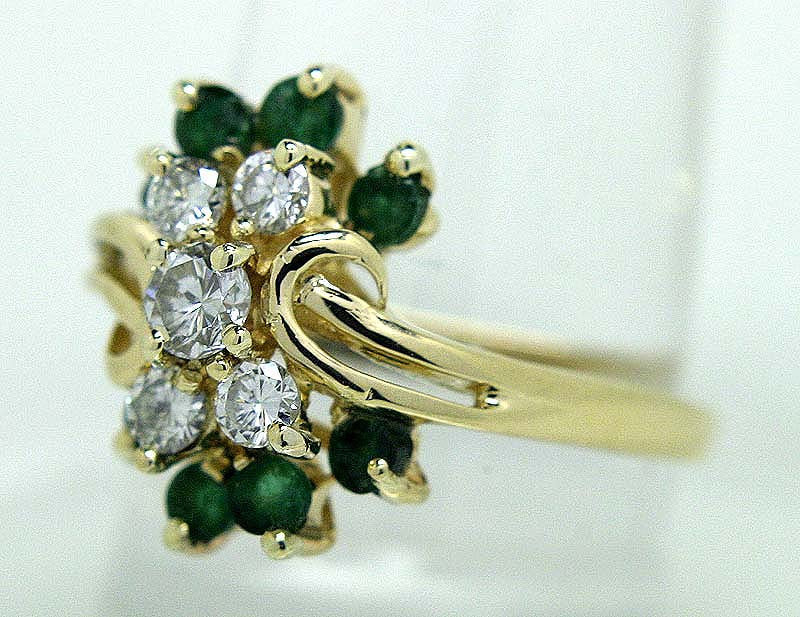 14K Emerald & Diamond Cocktail Ring - Chicago Pawners & Jewelers