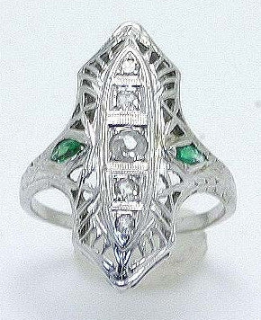 18K Diamond & Emerald Filigree Ring