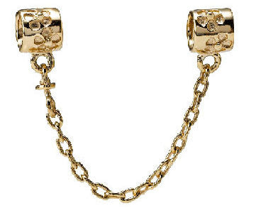 Pandora Flower Safety Chain 14kt Gold Charm -  750312 - Chicago Pawners & Jewelers