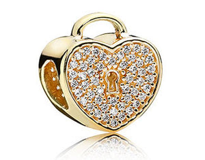 Pandora Heart Lock CZ 14kt Gold Charm -  750833CZ - Chicago Pawners & Jewelers