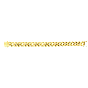 14kt Gold 24 inches Yellow Finish 13.5mm Polished Curb Link Chain with Box with Both Side Push Clasp