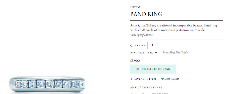 Tiffany & Co. Platinum Lucida Diamond Wedding Band