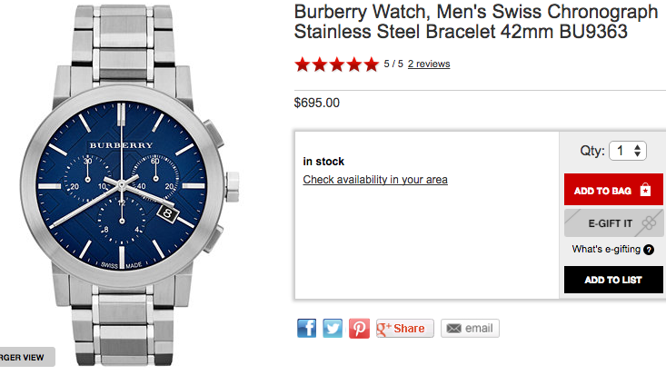 Burberry The City Steel Chronograph - Chicago Pawners & Jewelers