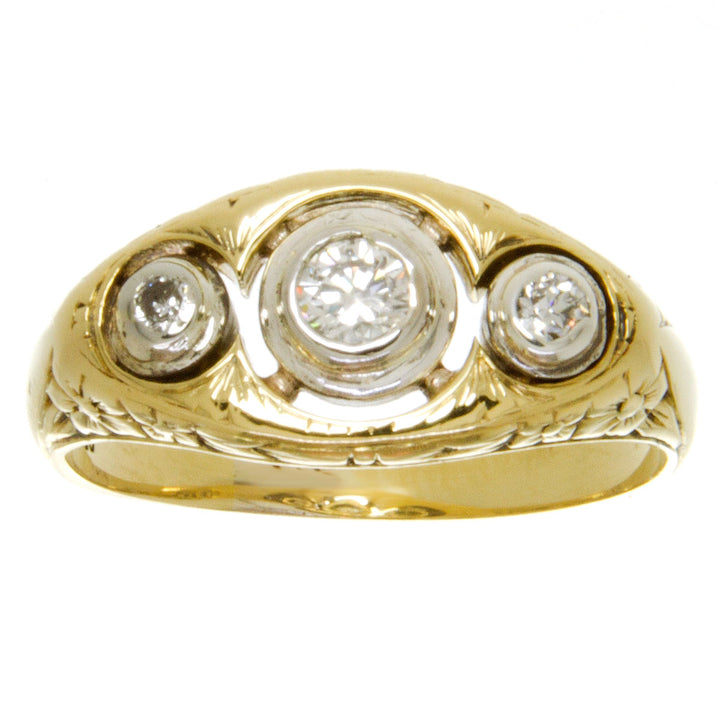 Art Deco 3 Stone Diamond Anniversary Ring - Chicago Pawners & Jewelers