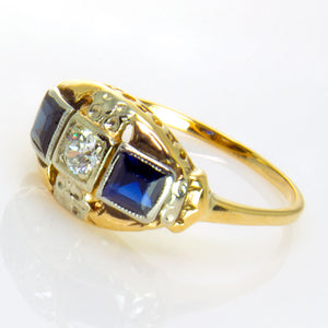 Art Deco Sapphire & Diamond Ring - Chicago Pawners & Jewelers