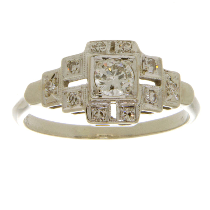 Art Deco 14K Diamond Engagement Ring