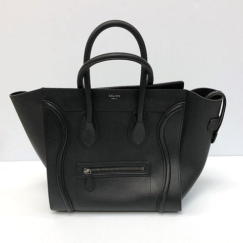 Céline Mini Luggage Black Drummed Calfskin
