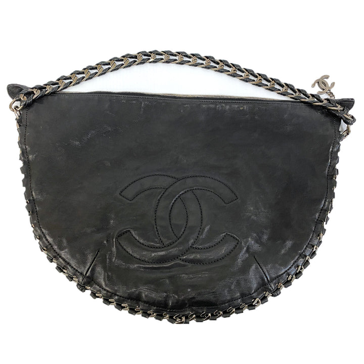 Chanel Vintage Embroidered Logo Chain Handle Hobo Bag - Chicago Pawners & Jewelers
