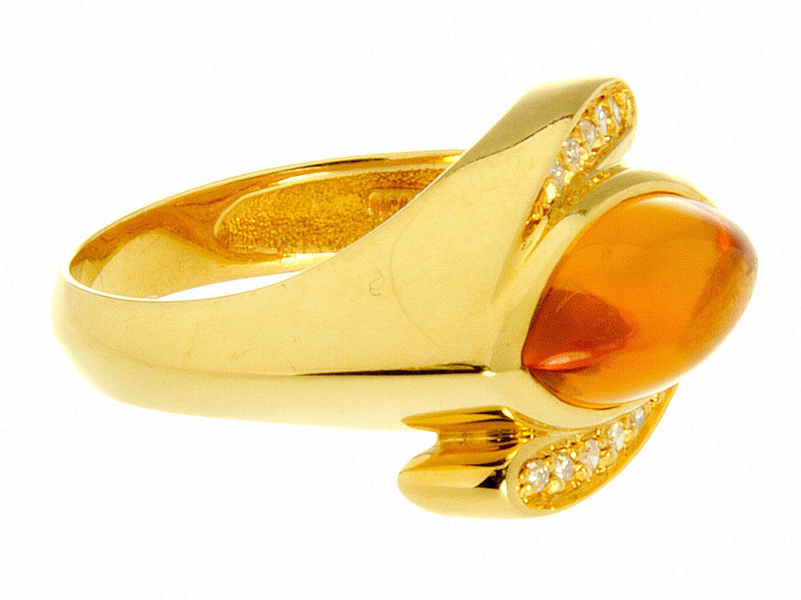 1970s 18K Citrine & Diamond Cocktail Ring - Chicago Pawners & Jewelers