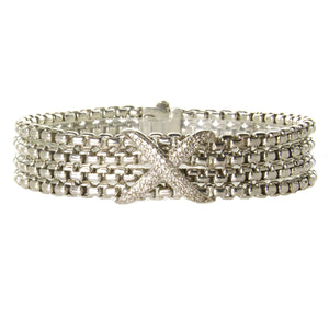 David Yurman 4 Row Diamond X Bracelet