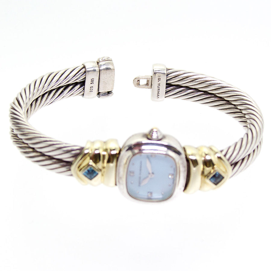David Yurman Diamond & Blue Topaz Double Cable Bangle Watch - Chicago Pawners & Jewelers