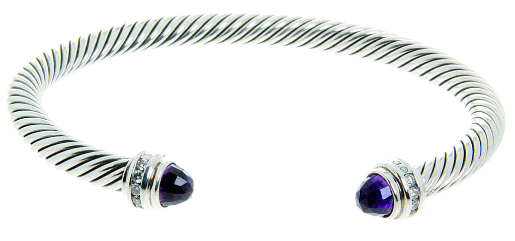 David Yurman Amethyst & Diamond Classic Cable Bracelet - Chicago Pawners & Jewelers