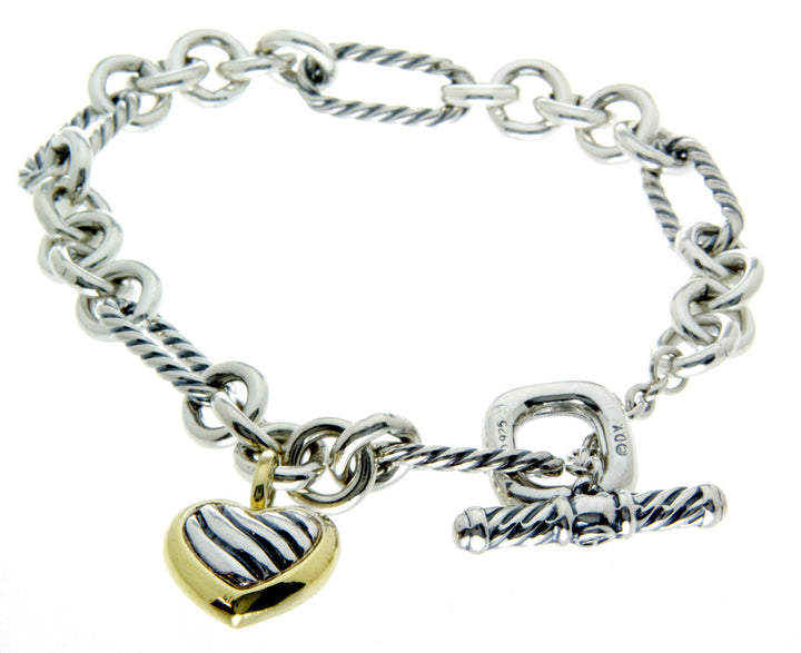 David Yurman Cable Heart Charm Bracelet with Gold - Chicago Pawners & Jewelers