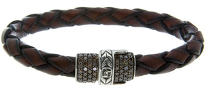 David Yurman Chevron Leather & Diamond Bracelet - Chicago Pawners & Jewelers