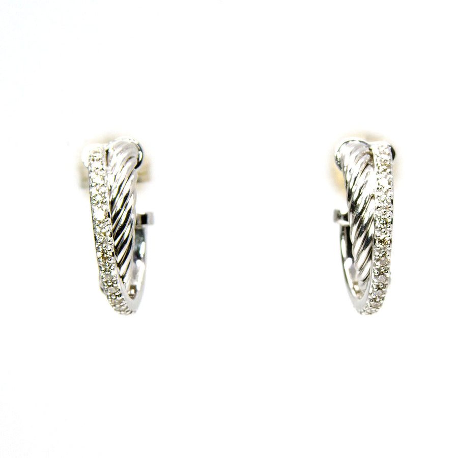 David Yurman Crossover Cable Diamond Hoop Earrings - Chicago Pawners & Jewelers