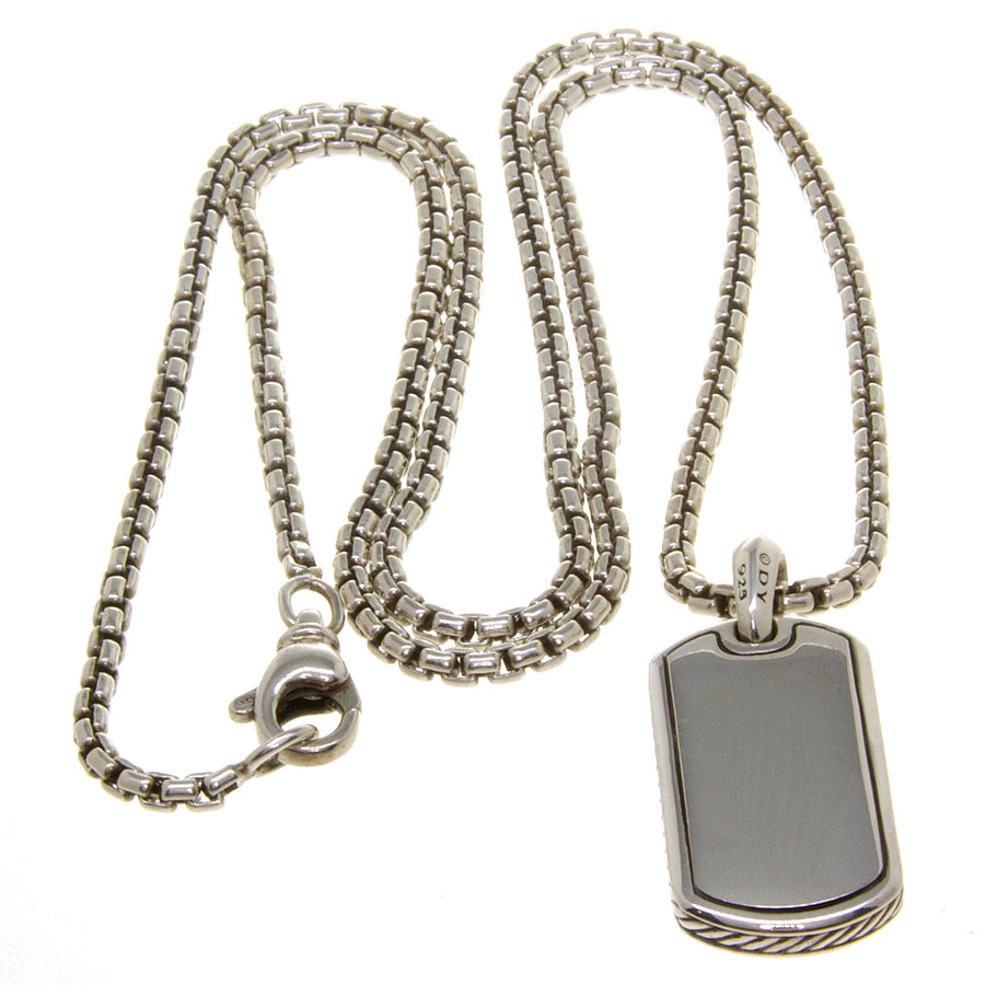 David Yurman Dog Tag Charm with Box Chain - Chicago Pawners & Jewelers