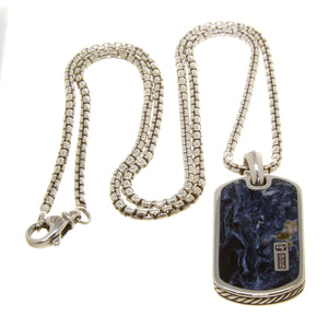 David Yurman Exotic Stone Tag with Pietersite with Box Chain - Chicago Pawners & Jewelers
