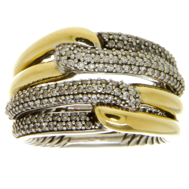 David Yurman Labyrinth Double Loop Ring with Diamonds - Chicago Pawners & Jewelers
