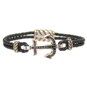 David Yurman Maritime Anchor Bracelet with Black Diamonds