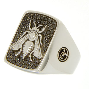David Yurman Petrvs Bee Signet Ring with Black Diamonds - Chicago Pawners & Jewelers