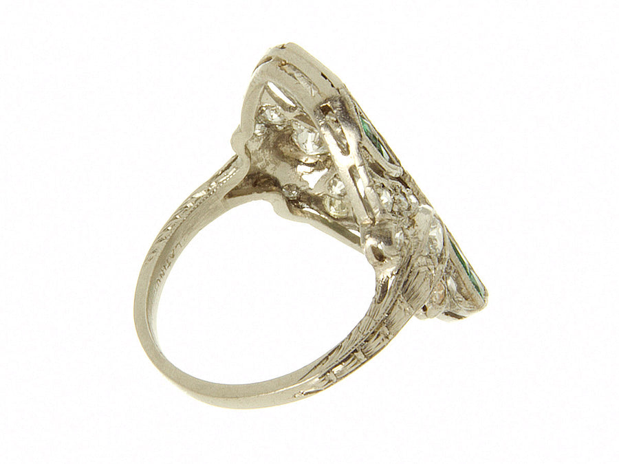 Art Deco Platinum Diamond & Emerald Ring - Chicago Pawners & Jewelers