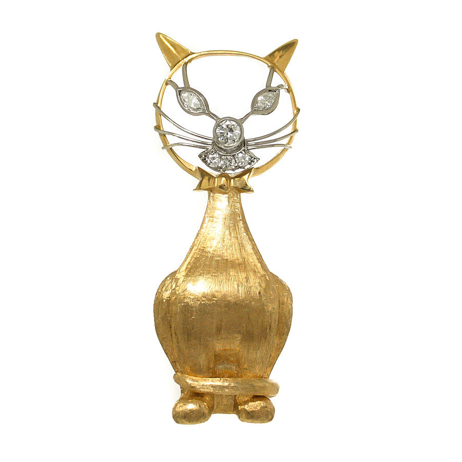 Whimsical 1960s Diamond Cat Brooch