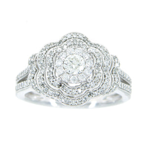 1.00ct Diamond Flower Halo Engagement Ring