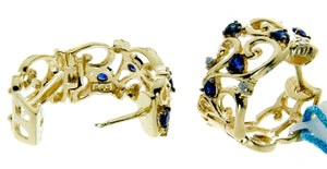 Effy 14K Yellow Gold Blue Sapphire and Diamond Filigree Earrings - Chicago Pawners & Jewelers
