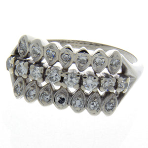 Vintage 1950s 3 Row Diamond Band Ring - Chicago Pawners & Jewelers