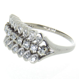 Vintage 1950s 3 Row Diamond Band Ring