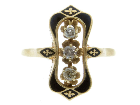 Vintage Enamel & Diamond 3 Stone Ring