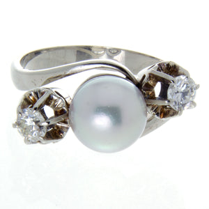 1950s Pearl & Diamond Ring - Chicago Pawners & Jewelers