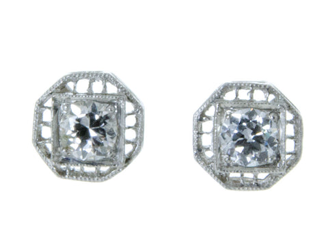 Vintage Filigree Diamond Stud Earrings