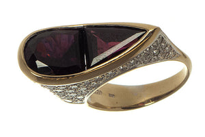 18K Rhodolite Garnet & Diamond Ring - Chicago Pawners & Jewelers