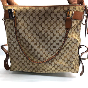 Gucci Large Canvas Bamboo Bar Travel Tote - Chicago Pawners & Jewelers