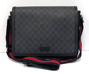 Gucci GG Supreme Black Flap Messenger Bag