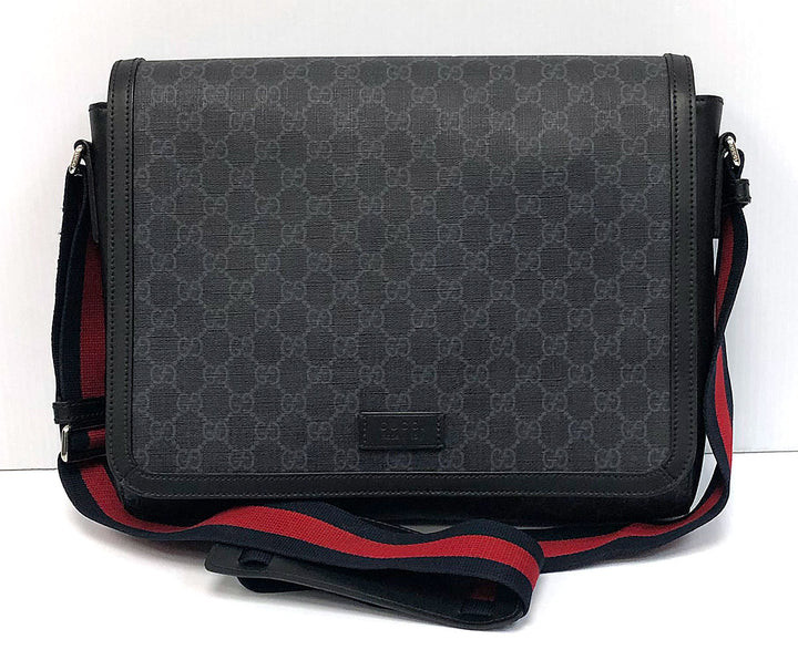 Gucci GG Supreme Black Flap Messenger Bag - Chicago Pawners & Jewelers
