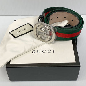 Gucci Green & Red Web Belt with G Buckle - Chicago Pawners & Jewelers