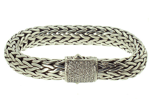 John Hardy Classic Pave' Diamond Bracelet - Chicago Pawners & Jewelers